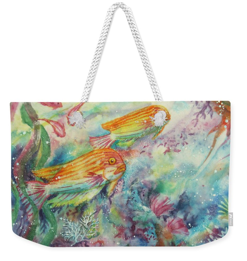 Fish Weekender Tote Bag featuring the painting Watery World 1 by Deborah Younglao