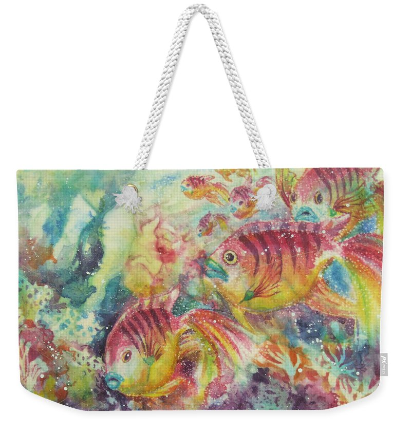 Fish Weekender Tote Bag featuring the painting Watery World 2 by Deborah Younglao