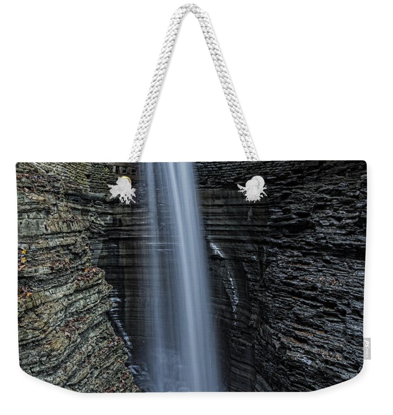 Cavern Weekender Tote Bag featuring the photograph Watkins Glen Cavern Cascade by Stephen Stookey