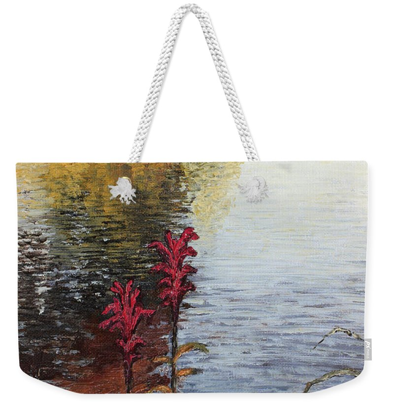 Landscape Weekender Tote Bag featuring the painting Watts Bar Lake Rockwood Tn by Todd A Blanchard