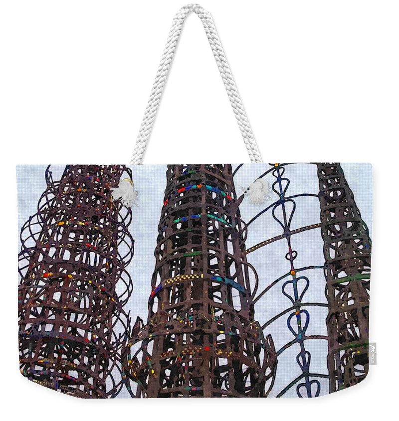 Glenn Mccarthy Weekender Tote Bag featuring the photograph Watts Towers 2 - Los Angeles by Glenn McCarthy Art and Photography