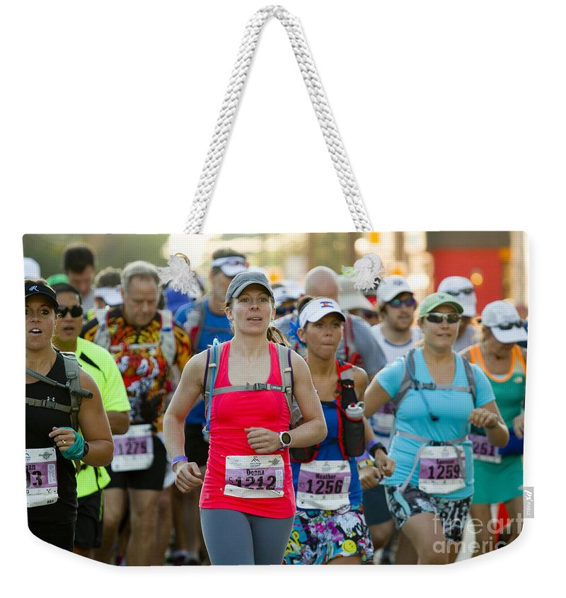 Start Weekender Tote Bag featuring the photograph Wave Start At Pikes Peak Marathon And Ascent by Steve Krull