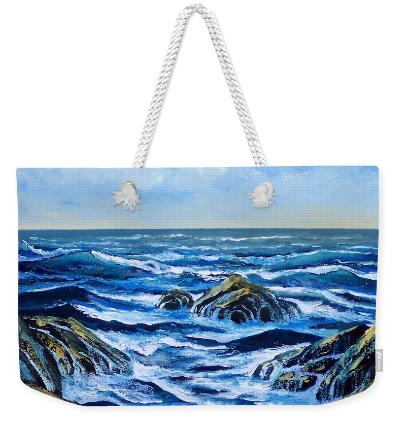 Ocean Weekender Tote Bag featuring the painting Waves And Foam by Frank Wilson