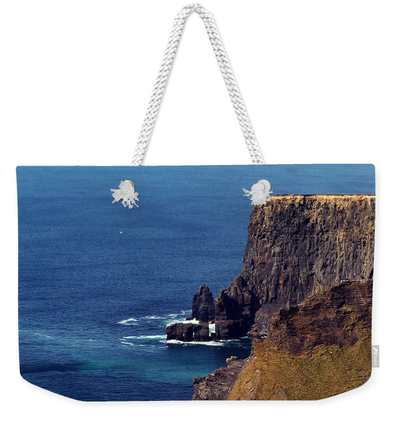 Irish Weekender Tote Bag featuring the photograph Waves Crashing At Cliffs Of Moher Ireland by Teresa Mucha