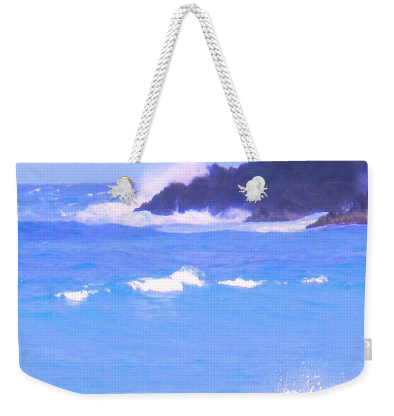 Ocean Weekender Tote Bag featuring the photograph Waves Crashing by Ian MacDonald