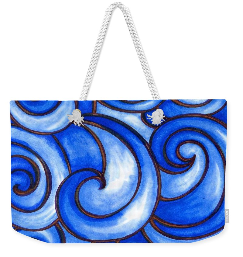 Water Weekender Tote Bag featuring the painting Waves of Mercy by Vonda Drees