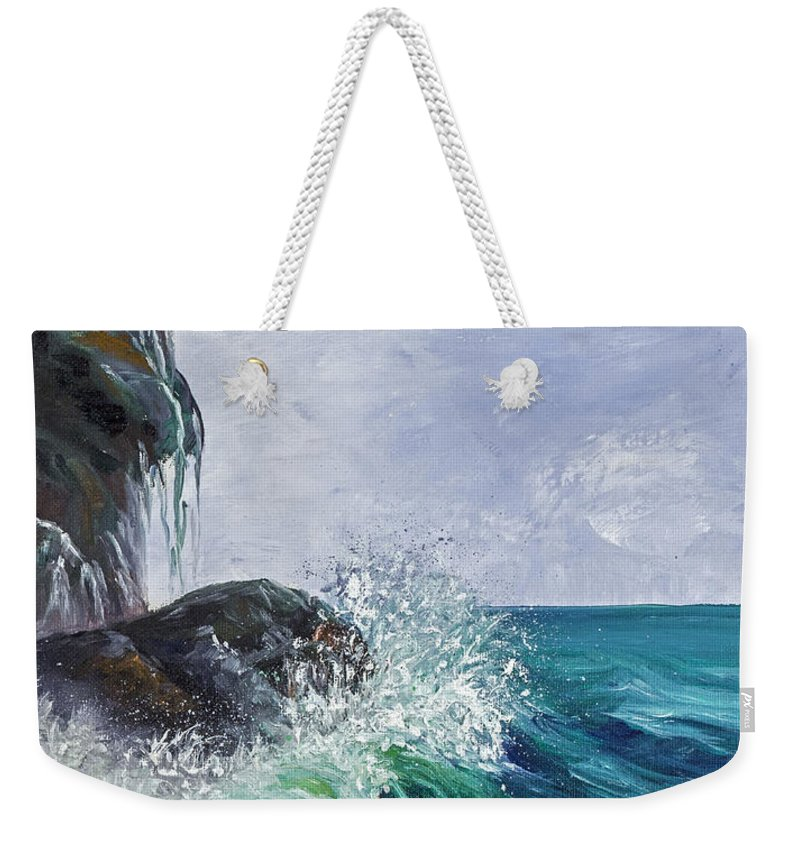 Seascape Weekender Tote Bag featuring the painting Waves On Maui by Darice Machel McGuire