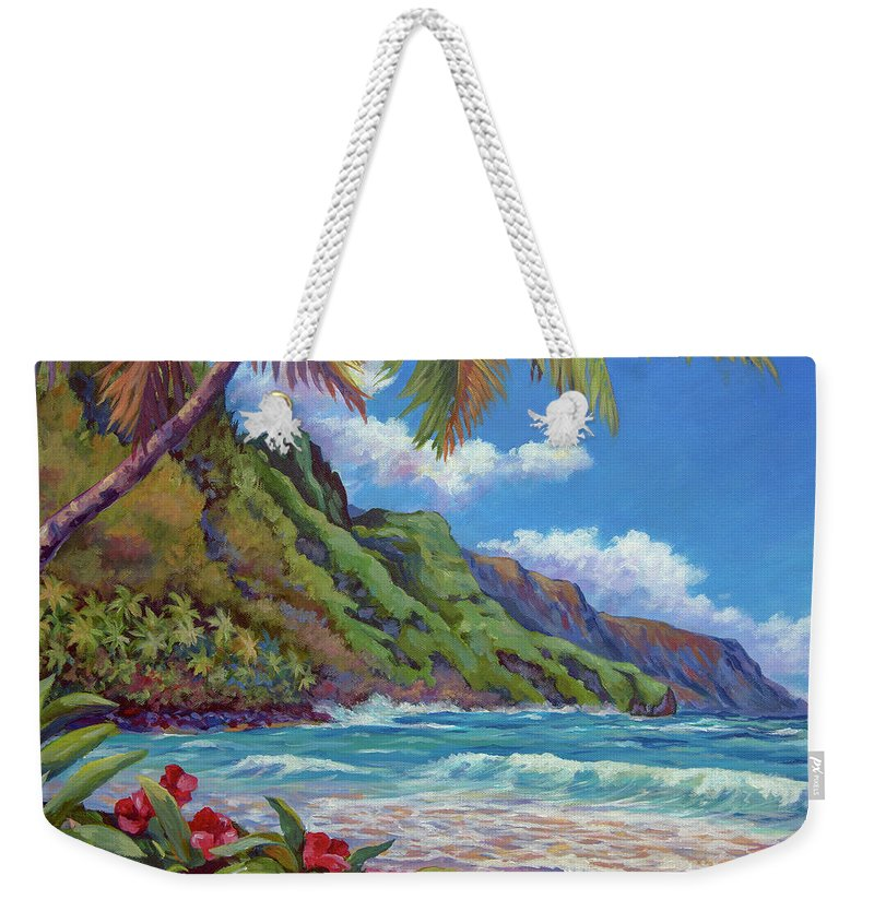 Kauai Weekender Tote Bag featuring the painting Waves On Na Pali Shore by John Clark