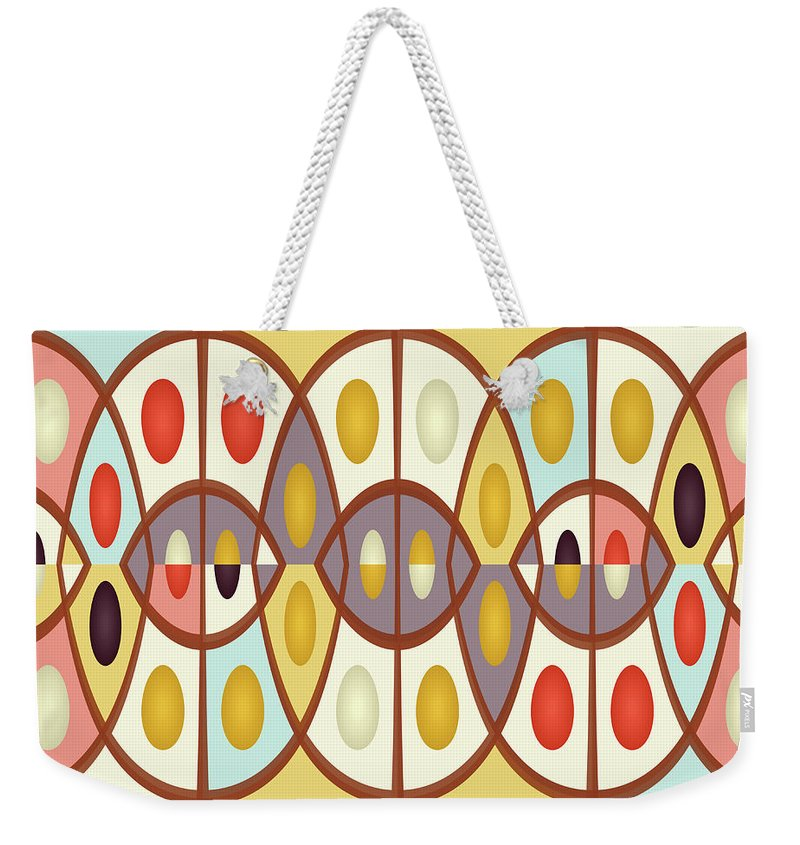 Abstract Weekender Tote Bag featuring the digital art Wavy Geometric Abstract by Gaspar Avila