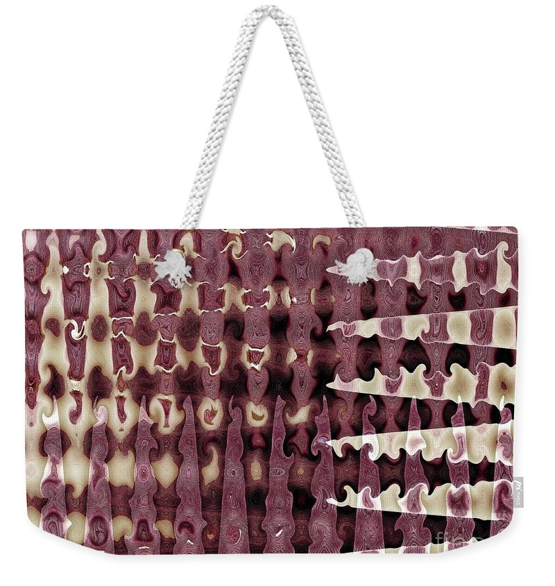 Abstract Weekender Tote Bag featuring the digital art Wax Sine by Ron Bissett