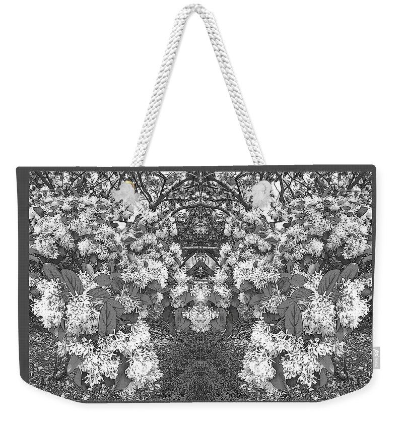 Photography Weekender Tote Bag featuring the digital art Waxleaf Privet Blooms In Black And White Abstract Poster by Marian Bell