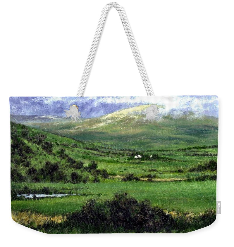 Landcape Weekender Tote Bag featuring the painting Way to Ardara Ireland by Jim Gola
