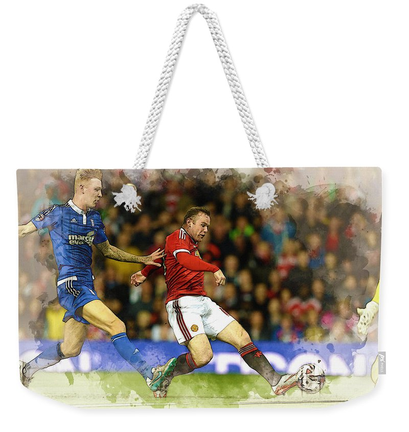 Uefa Chamipons League Weekender Tote Bag featuring the digital art Wayne Rooney Of Manchester United Scores by Don Kuing