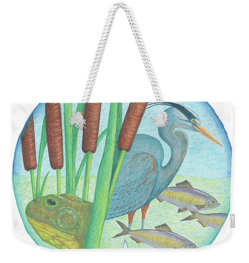 Mystic River Watershed Weekender Tote Bag featuring the drawing We Are All Connected by Anne Katzeff