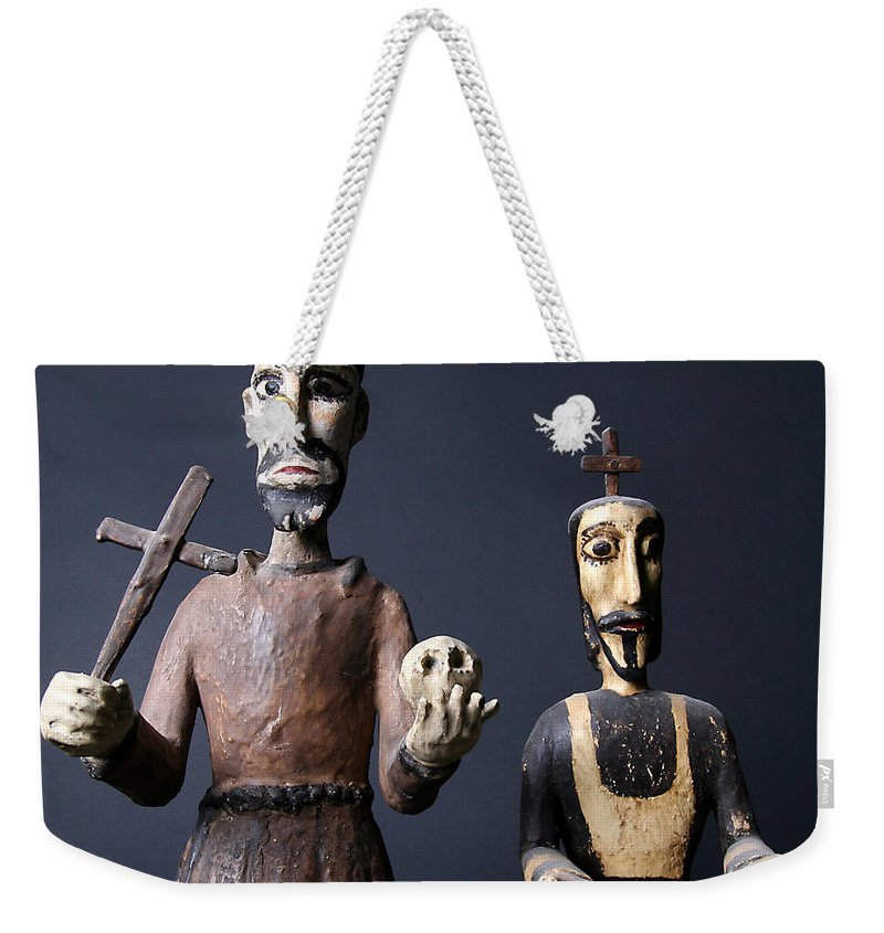 Figurines Weekender Tote Bag featuring the photograph We Are From The Church And We Are Here To Help by Joe Kozlowski