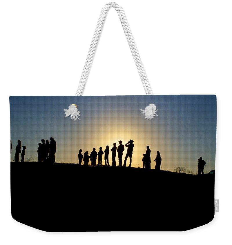 Silohuette Weekender Tote Bag featuring the photograph We Are Waiting by Jerry McElroy