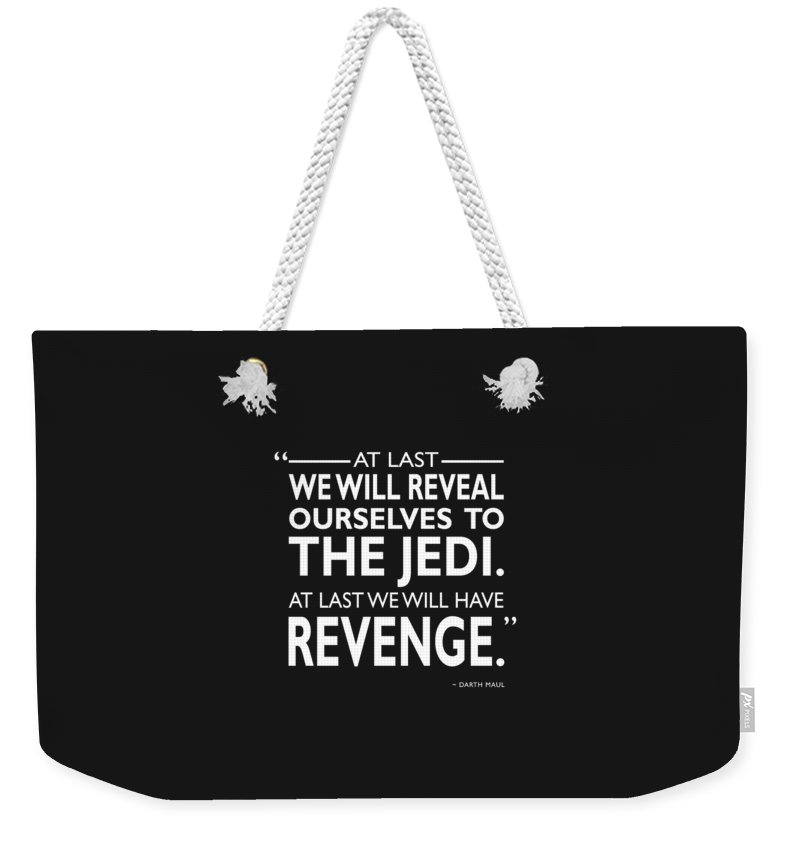 Darth Maul Weekender Tote Bag featuring the photograph We Will Have Revenge by Mark Rogan