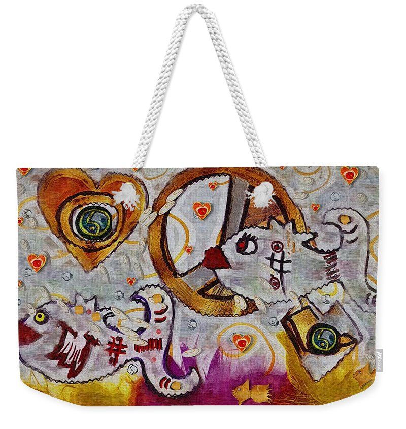 Seascape Weekender Tote Bag featuring the mixed media We Wont You To Clean Our Water With Love by Pepita Selles