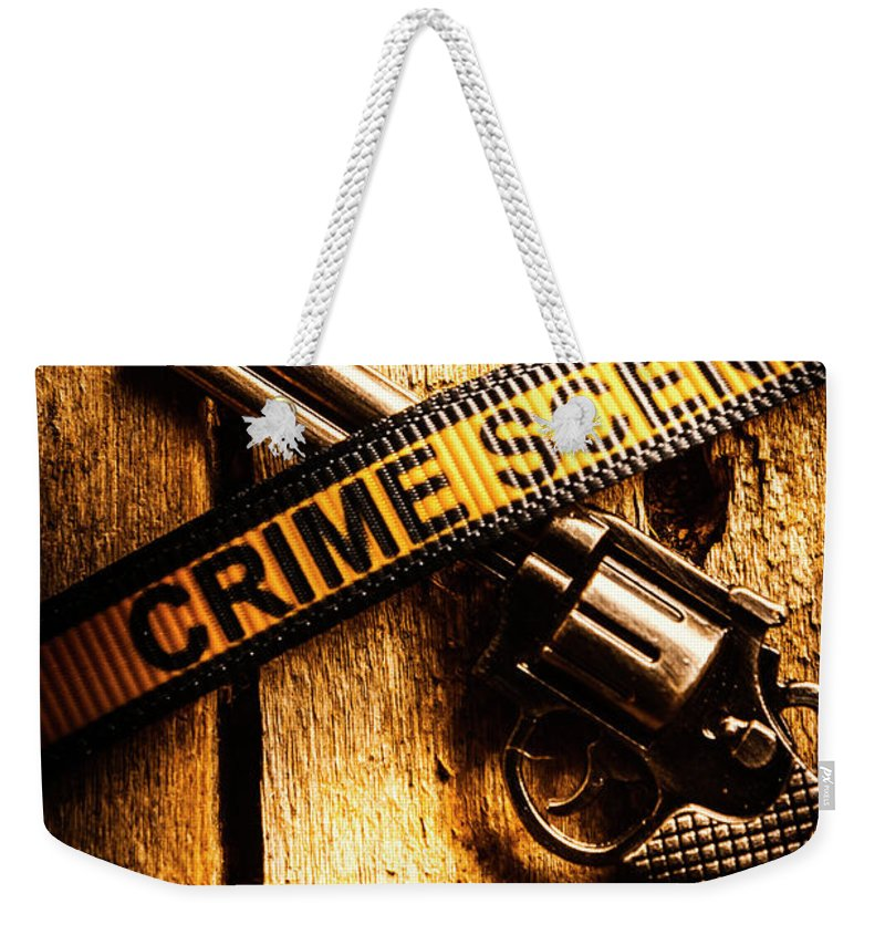 Evidence Weekender Tote Bag featuring the photograph Weapon Forensics by Jorgo Photography - Wall Art Gallery