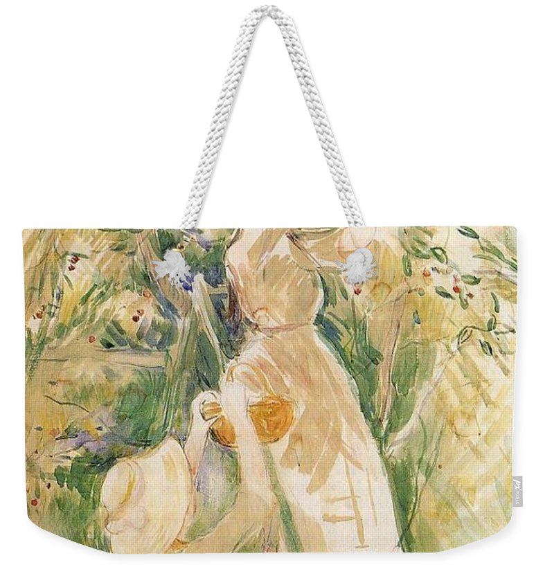 Jeanne Pontillon Wearing A Hat Weekender Tote Bag featuring the painting Wearing A Hat by Jeanne Pontillon