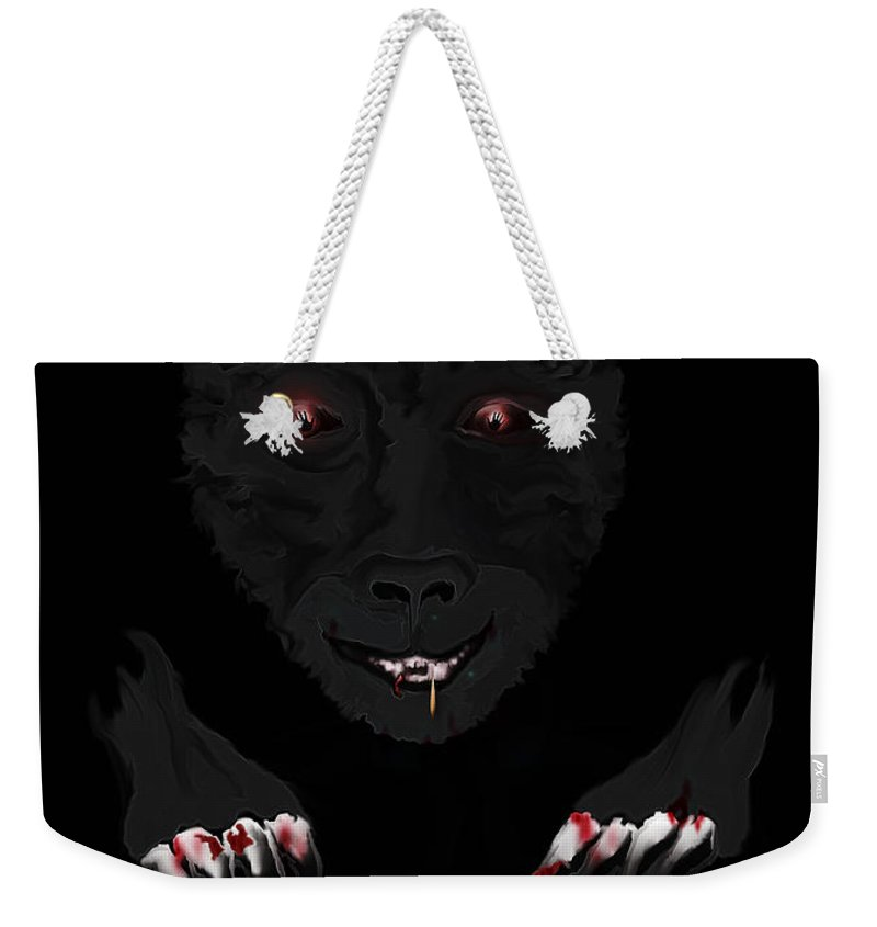 Wearwolf Wolf Scary Blood Eyes Haunting Black Claws Nails Fangs Weekender Tote Bag featuring the digital art Wearwolf by Andrea Lawrence