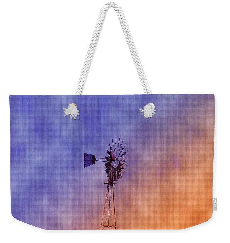 Weather Vane Weekender Tote Bag featuring the photograph Weather Vane Sunset by Bill Cannon