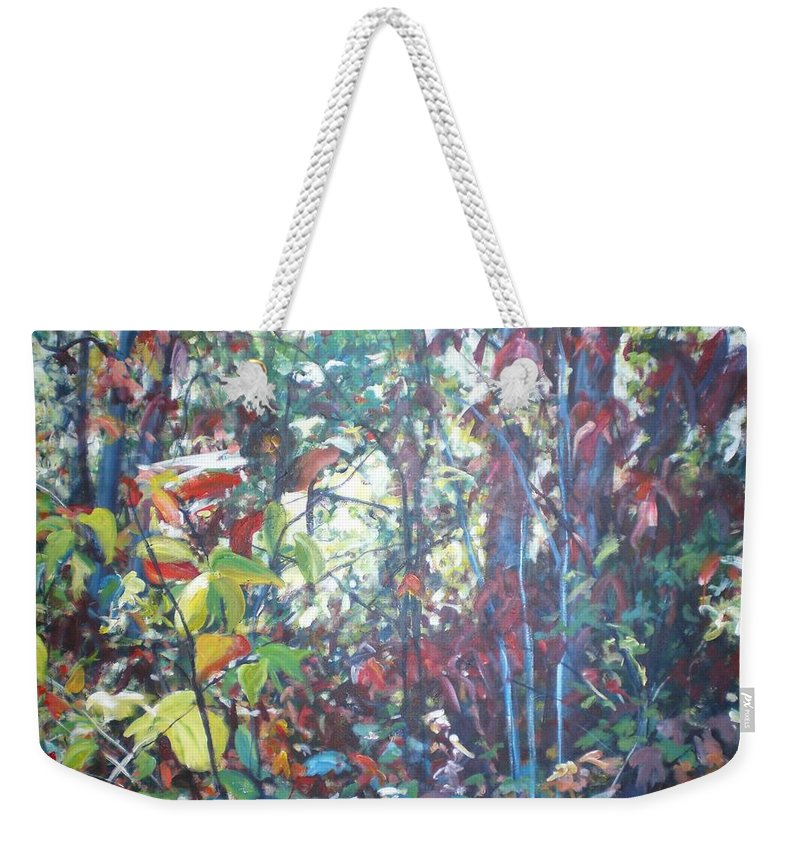 Landscape Weekender Tote Bag featuring the painting Web Of Color by Sheila Holland