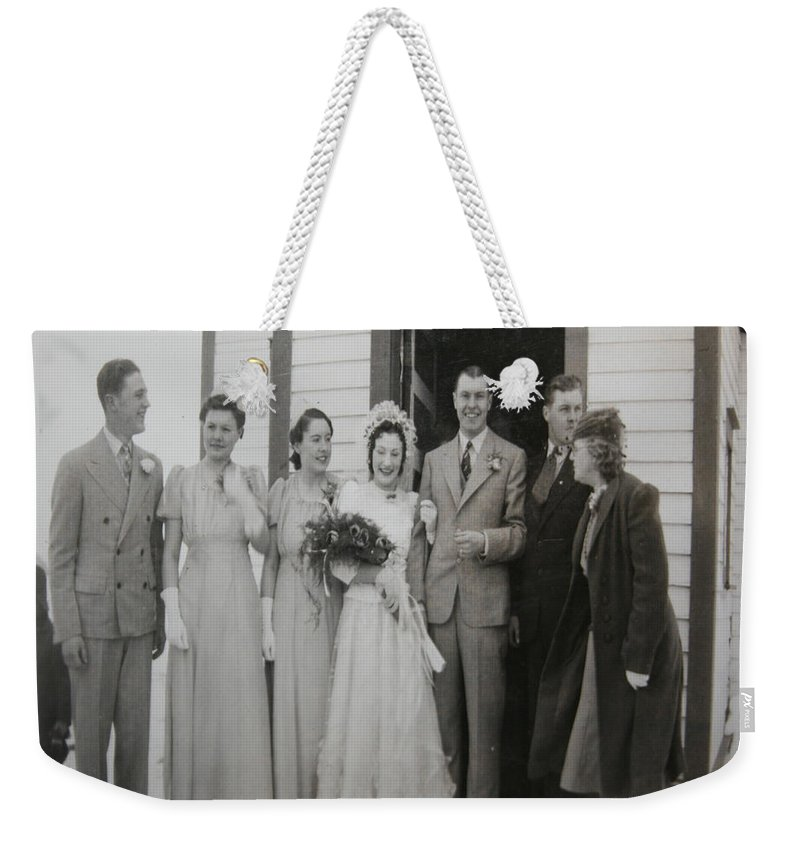 Classic Wedding Old Fashioned 1950s Wedding Dress Bride Groom Church Black And White Old Photographs Weekender Tote Bag featuring the photograph Wedding Bells by Andrea Lawrence
