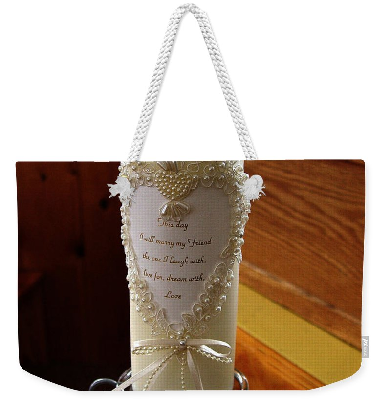 Wedding Candle Weekender Tote Bag featuring the photograph Wedding Candle by Peter Piatt