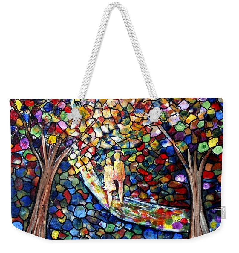Romance Weekender Tote Bag featuring the painting Wedding In The Park by Luiza Vizoli