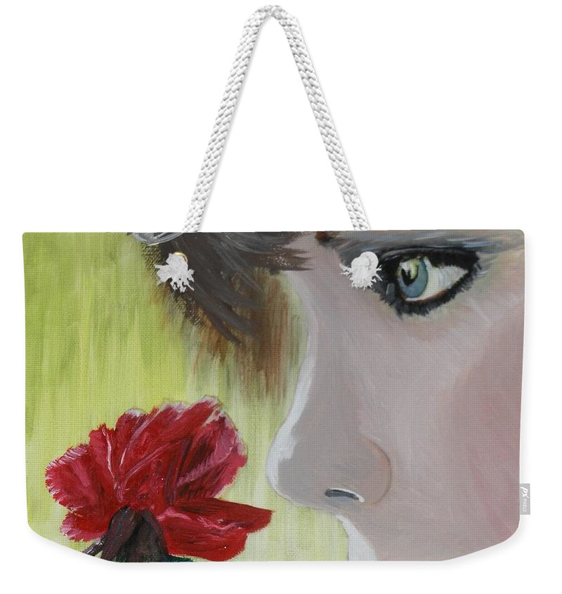 Romance Weekender Tote Bag featuring the painting Wedding Rose by J Bauer