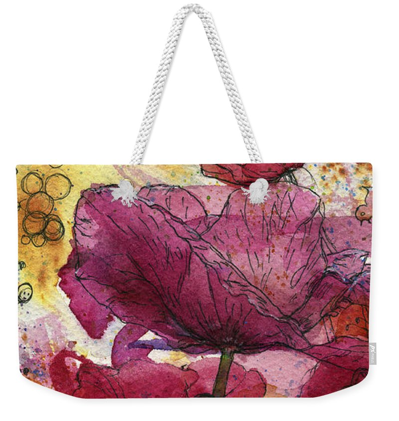 Bees Weekender Tote Bag featuring the painting Wee Bees And Poppies by Petra Rau