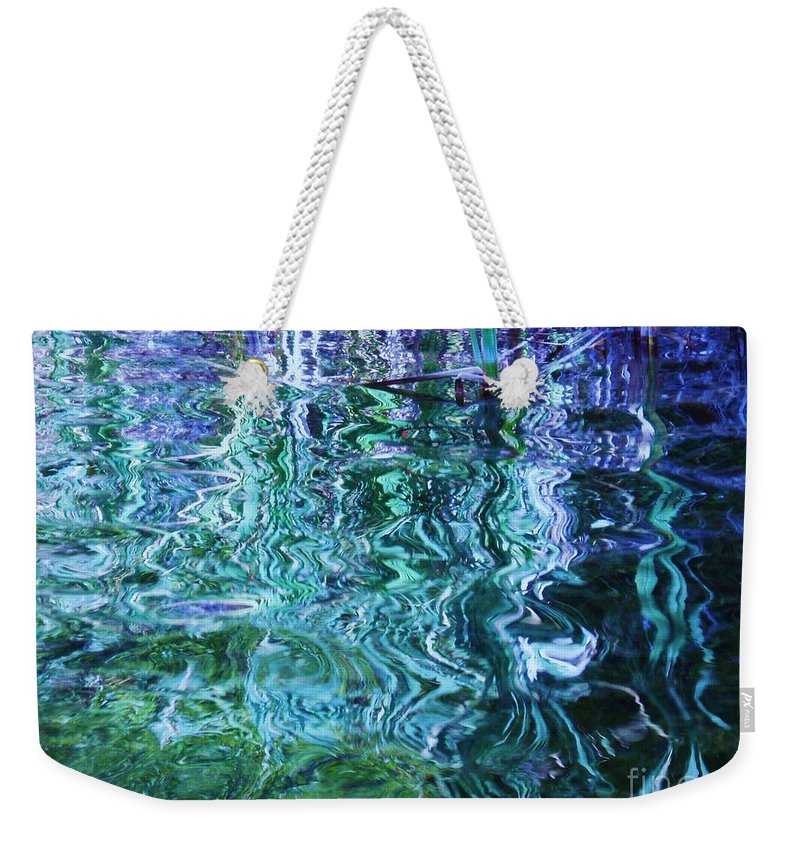 Photograph Blue Green Weed Shadow Lake Water Weekender Tote Bag featuring the photograph Weed Shadows by Seon-Jeong Kim