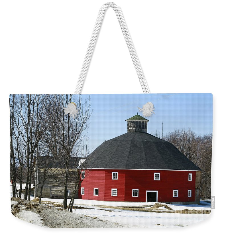 Barn Weekender Tote Bag featuring the photograph Welch Round Barn by Deborah Benoit