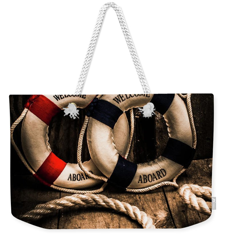 Lifebuoy Weekender Tote Bag featuring the photograph Welcome Aboard The Dark Cruise Line by Jorgo Photography - Wall Art Gallery