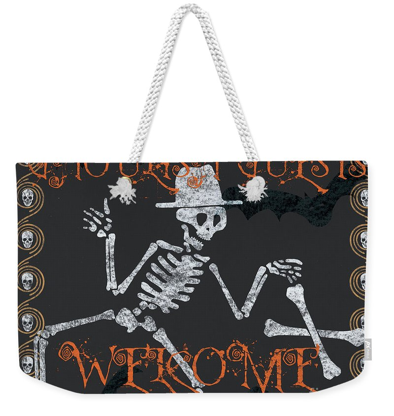 Halloween Weekender Tote Bag featuring the painting Welcome Ghoulish Guests by Debbie DeWitt