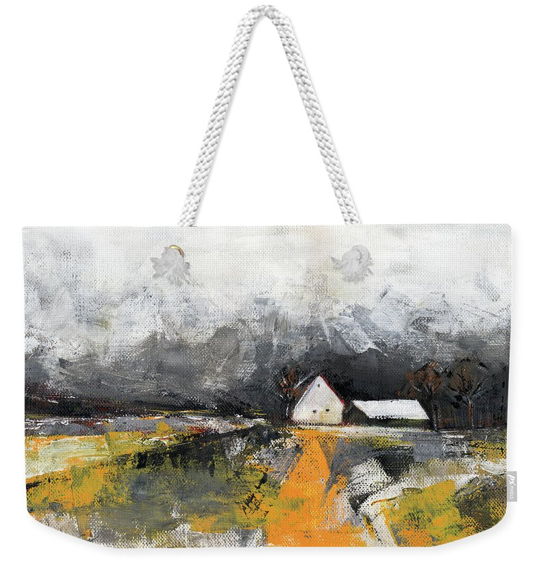 Landscape Weekender Tote Bag featuring the painting Welcome home by Aniko Hencz