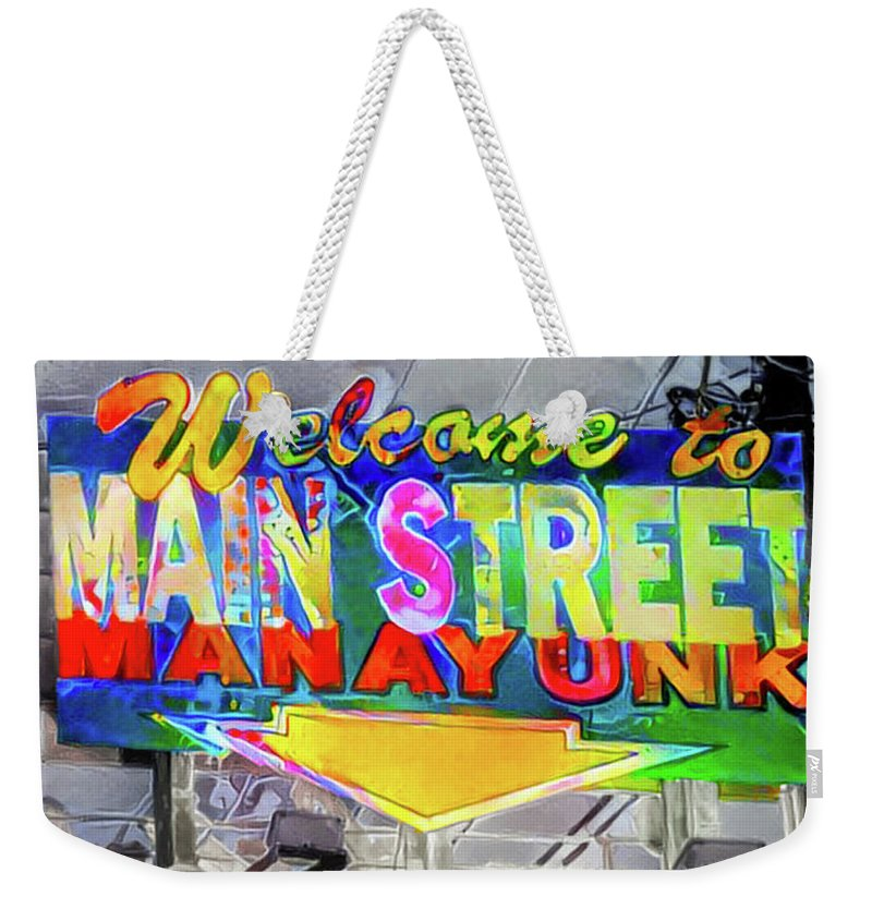 Welcome Weekender Tote Bag featuring the digital art Welcome To Main Street Manayunk - Philadelphia by Bill Cannon