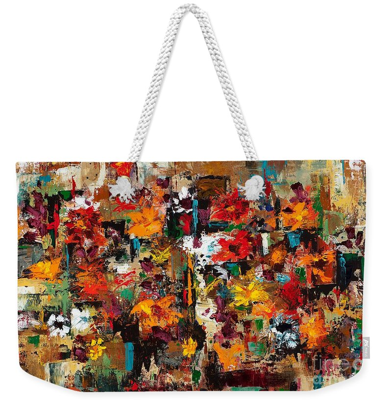 Abstract Flowers Weekender Tote Bag featuring the painting Welcome To My Flower Garden by Frances Marino