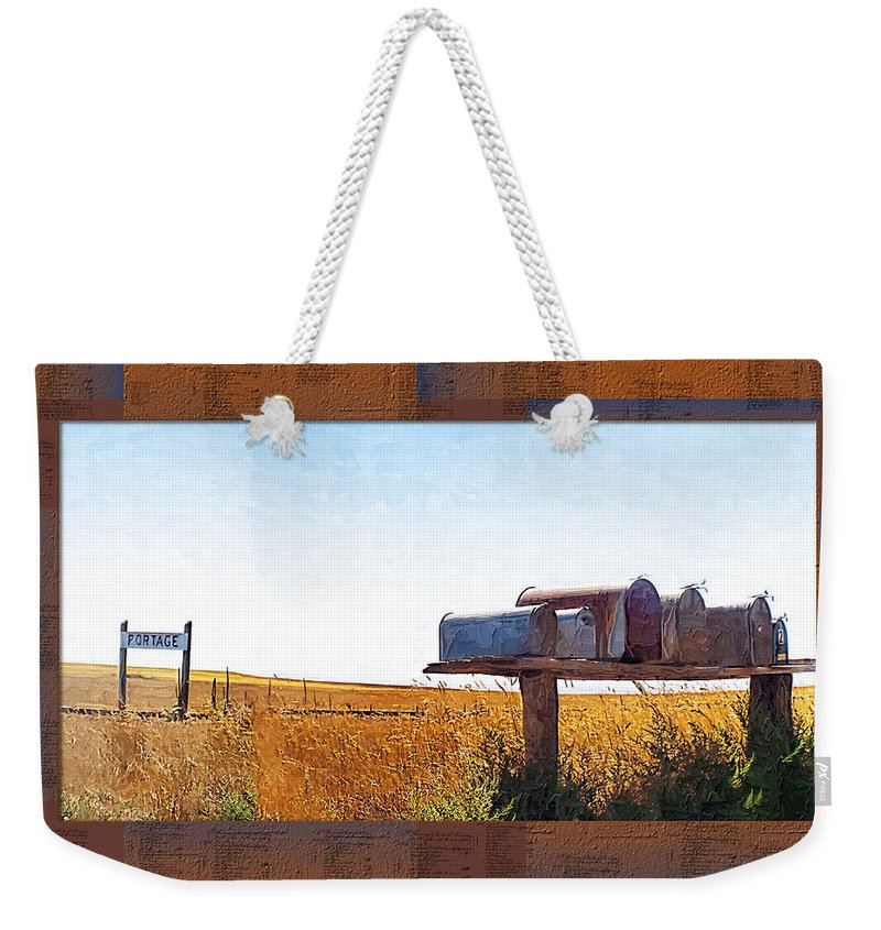 Railroad Weekender Tote Bag featuring the photograph Welcome To Portage Population-6 by Susan Kinney
