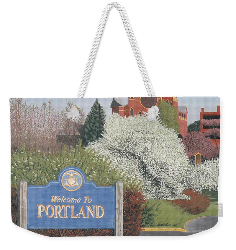 Church Weekender Tote Bag featuring the painting Welcome To Portland by Dominic White