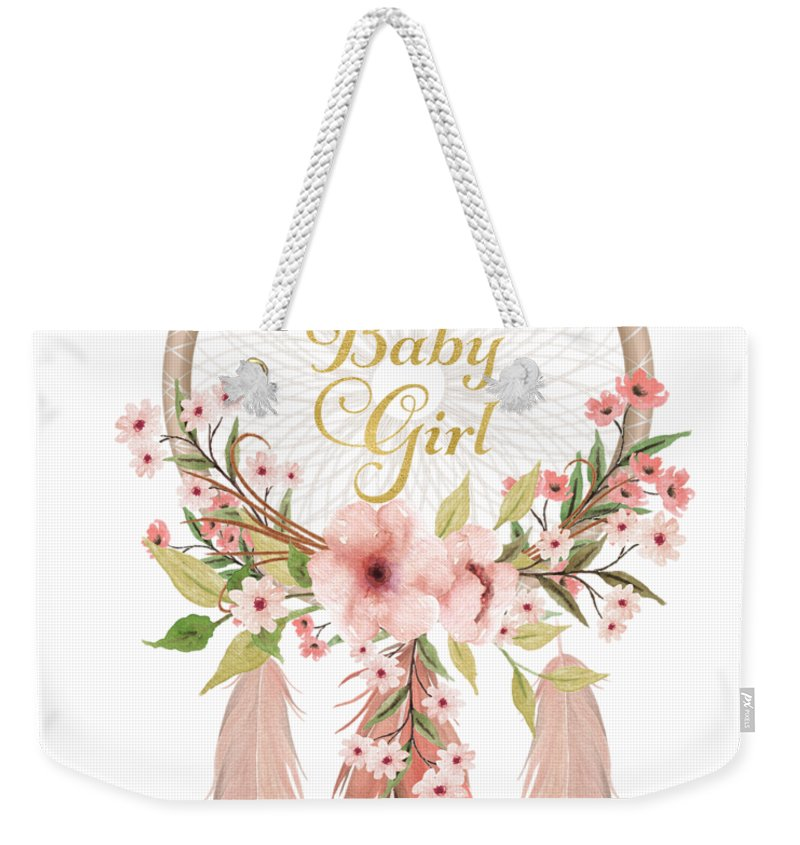 welcome to the world baby girl dreamcatcher weekender tote bag for