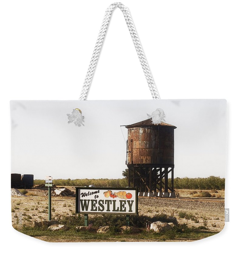 Landscape Weekender Tote Bag featuring the photograph Welcome To Westley by Karen W Meyer