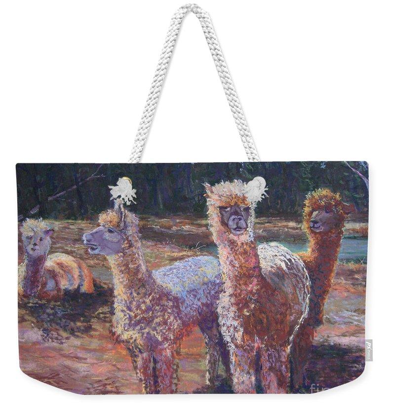 Alpaca Weekender Tote Bag featuring the pastel Welcoming Crowd by Alicia Drakiotes