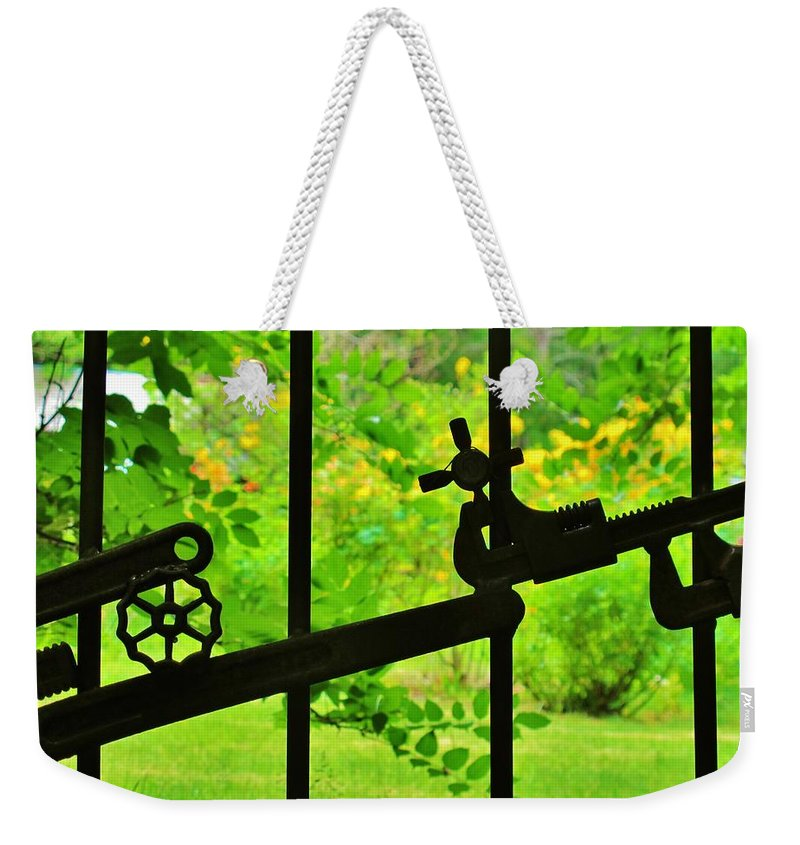 Gate Weekender Tote Bag featuring the photograph Welded Garden Gate by Wendy Rickwalt