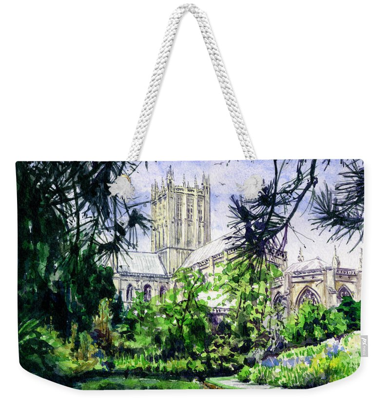 Wells Weekender Tote Bag featuring the painting Wells Cathedral by John D Benson