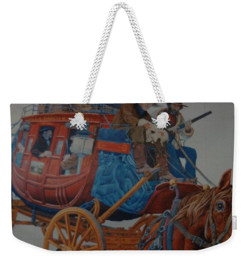 Mural Weekender Tote Bag featuring the photograph Wells Fargo Stagecoach by Rob Hans