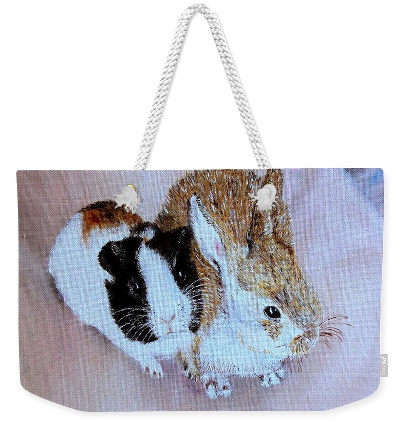 Pets Weekender Tote Bag featuring the painting Wendy And Bobby by Helmut Rottler