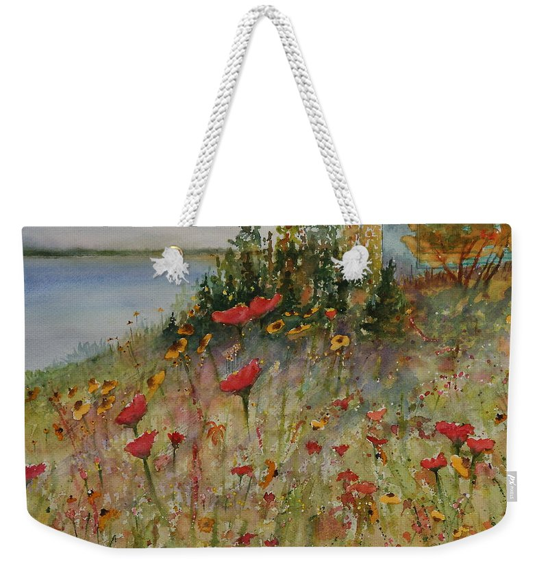 Nature Weekender Tote Bag featuring the painting Wendy's Wildflowers by Ruth Kamenev