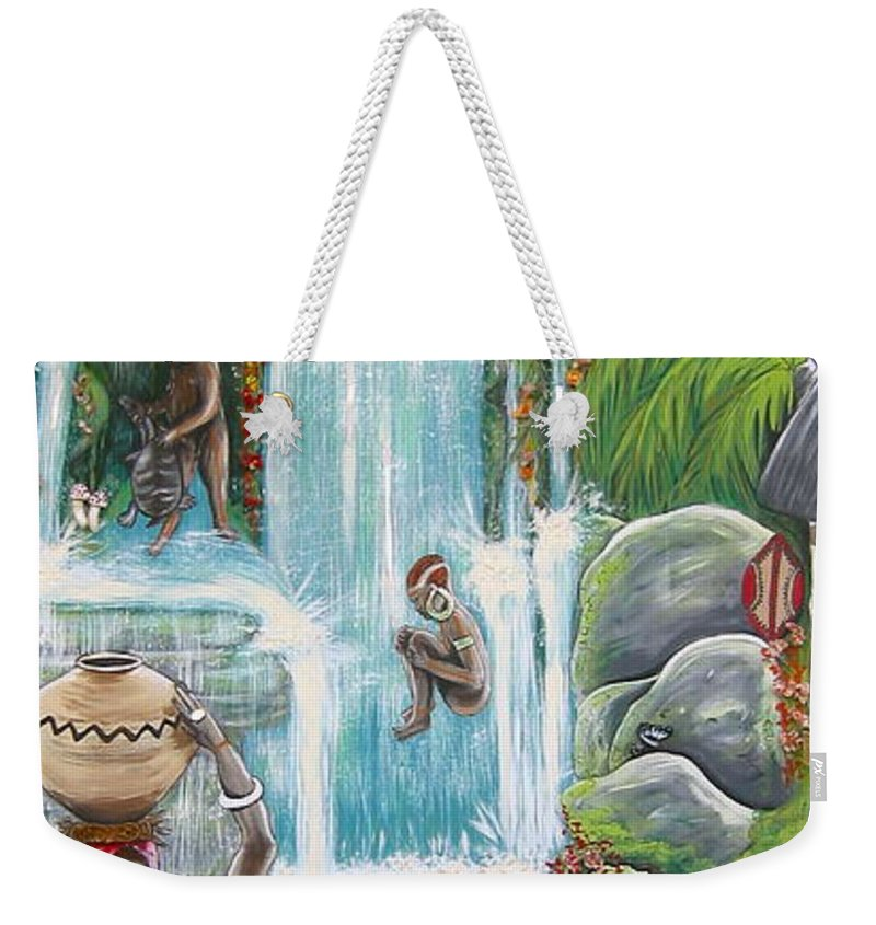 Africa Weekender Tote Bag featuring the painting We're Happy by V Boge